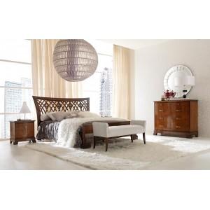 Кровать 160 x 200 с высоким изножьем – RIVA, изголовье с резьбой – VILLANOVA - RV 22031